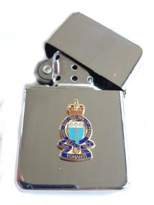 RAOC Royal Army Ordnance Corp Chrome Plated Windproof Petrol Lighter in Gift Box